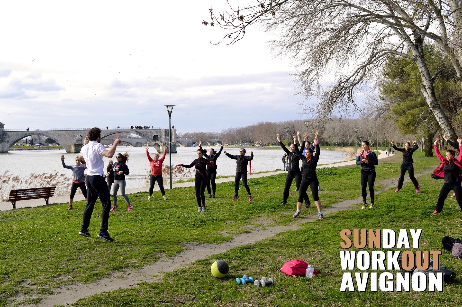 Sunday Workout Avignon 9 Coach circuit training fitness yoga pilates sport plein air evenement
