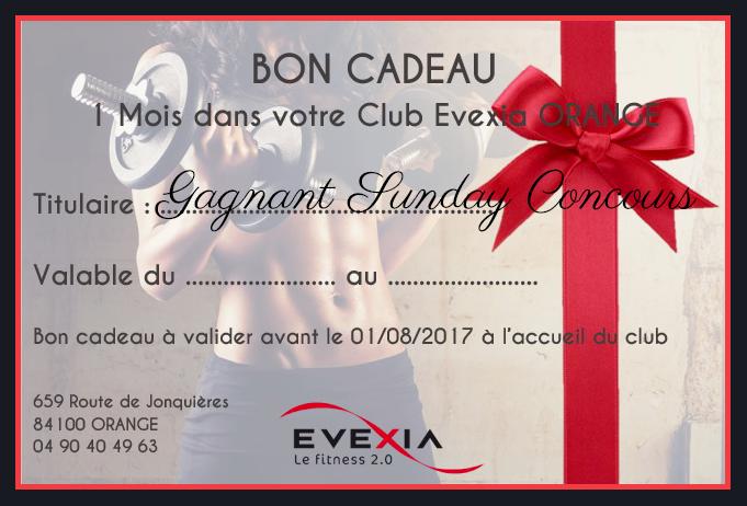 Bon cadeau 1 mois offert evexia Orange pour sunday concours